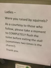 I saw this in a bathroom once.  It just made me laugh.  Squirrels????