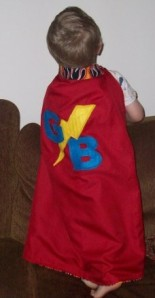Extra pic:  This obviously isn't Riggins.  It's baby Gavin wearing the cape I had made him.  I like capes.