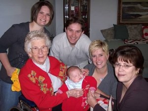 My sister, her husband, Grandma, my nephew, me, and my mom.