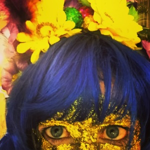 Blue hair and gold mask!